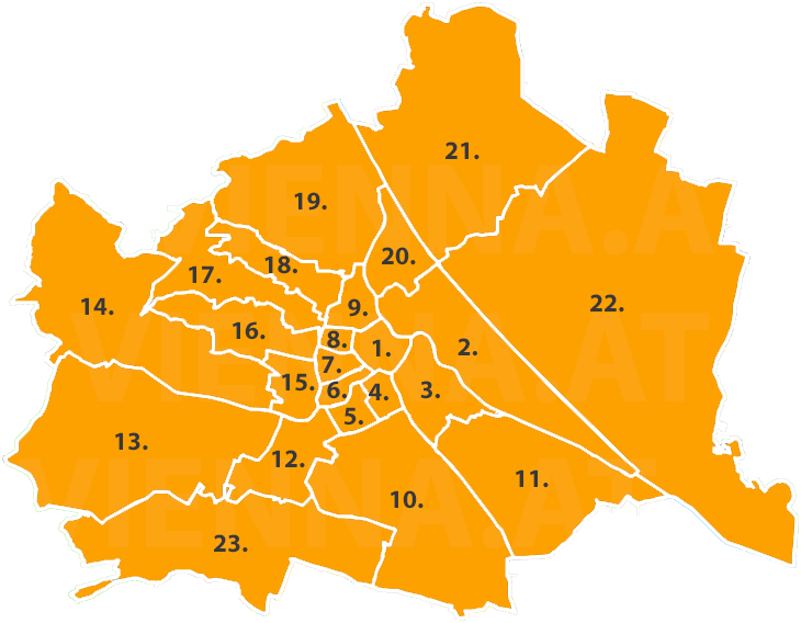 Bezirke in Wien auf einer Karte